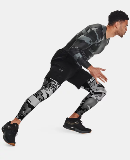 Picture of UNDER ARMOUR m legice 1361585-001 HG ISO-CHILL PRINTED LEGGINGS