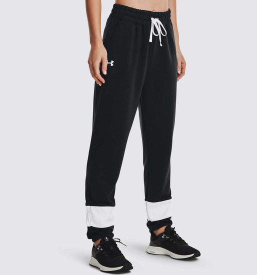 Picture of UNDER ARMOUR ž hlače 1370942-001 RIVAL TERRY FLEECE COLORBLOCK JOGGERS